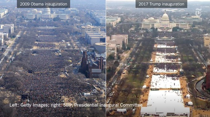Comparing the crowds at Donald Trump's and Barack Obama's inaugurations https://t.co/U4dIVzCKbH