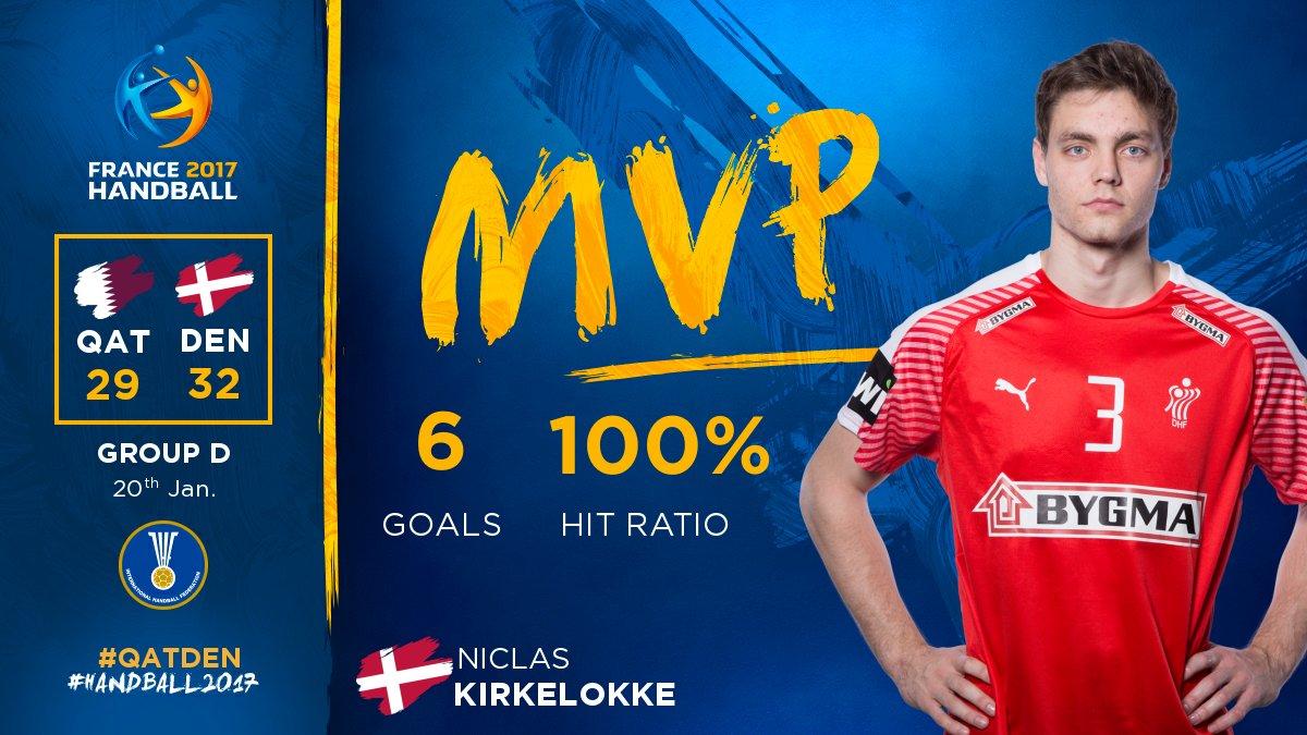 🇩🇰 Niclas Kirkelokke ➡️ 🎯 100% ➡️ 🏆 MVP #QATDEN  #Handball2017 #Phenom...