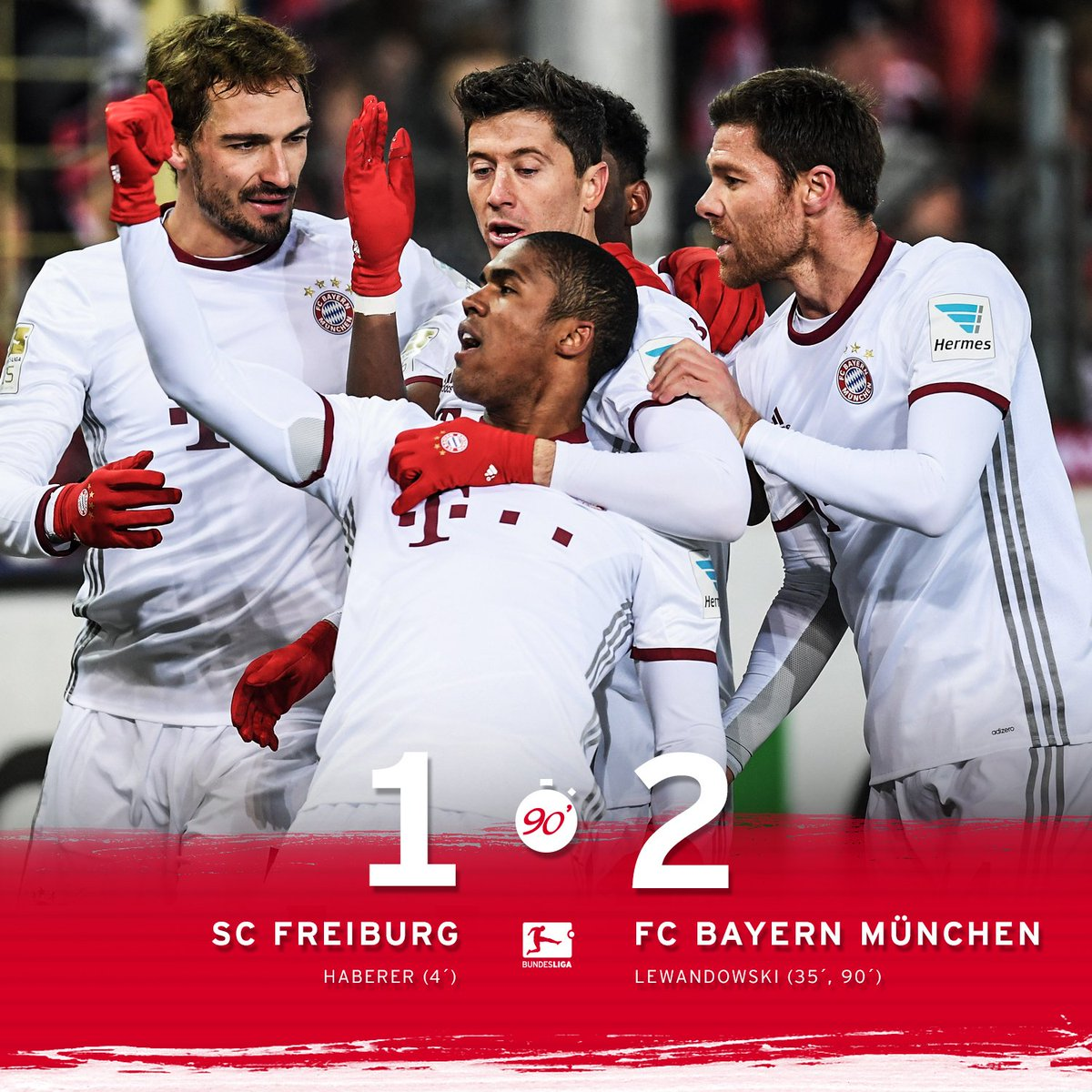 #FCBayern claim all 3️⃣ points thanks to @lewy_official's last-minute...