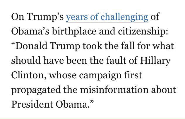 So in a new Trump book, he 'took the fall' on the Obama Birther issue....