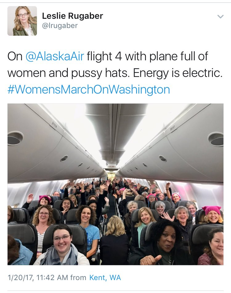 These pics from planes packed with people headed to the #WomensMarch a...