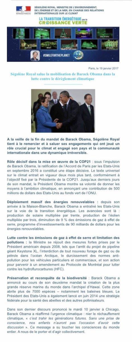 Merci à @BarackObama pour son engagement pour la bataille climatique  #COP21 #parisagreement  http://www. developpement-durable.gouv.fr/Segolene-Royal -salue-la,49331.html &nbsp; … <br>http://pic.twitter.com/aGOYZ8tcBy