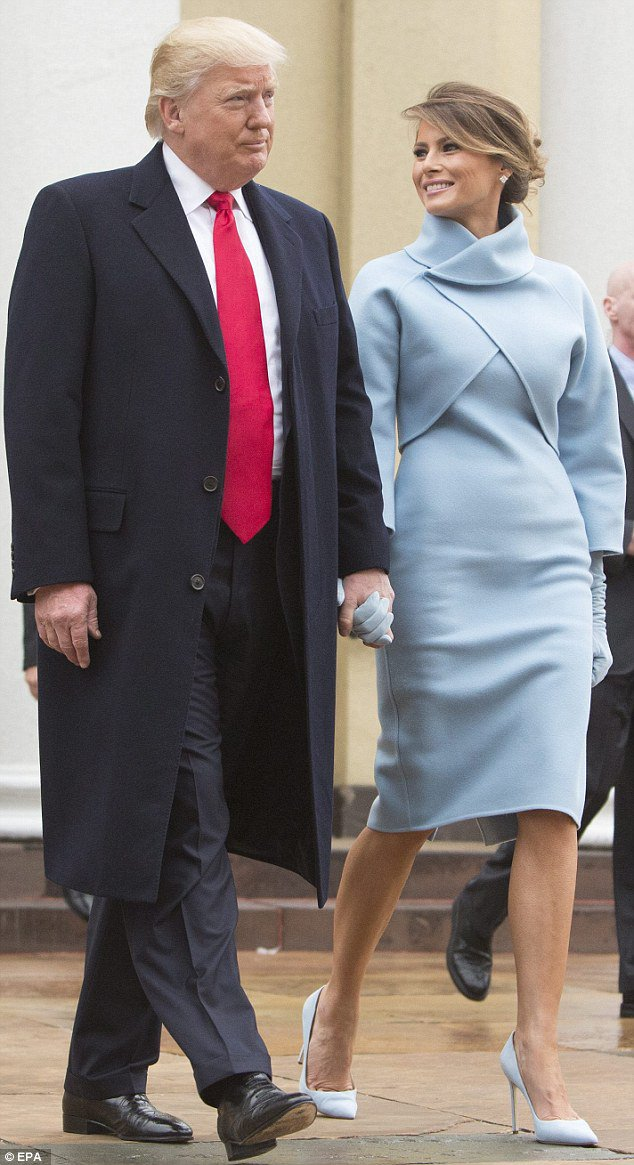 Melania Trump Channels Jackie Kennedy At Inauguration In Baby Blue Https T