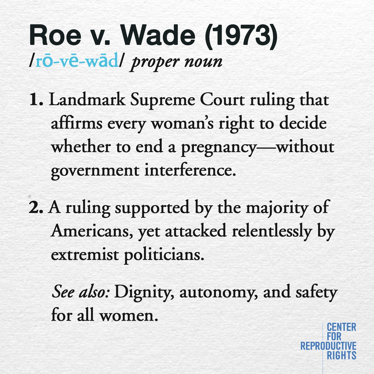 Today is the 44th anniversary of the landmark Supreme Court ruling Roe...
