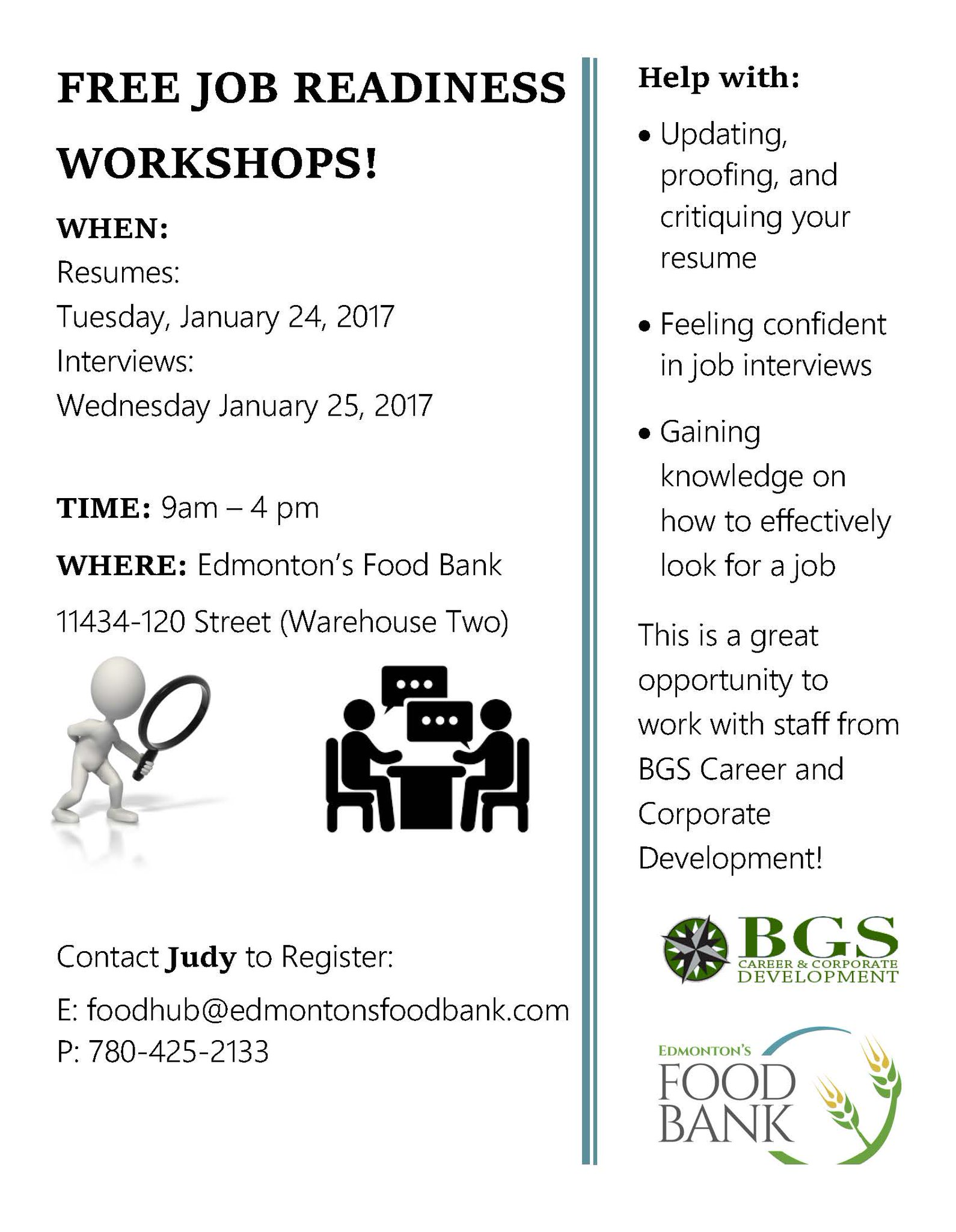 Edmonton S Food Bank On Twitter Looking For Work Come To Our Free Job Preparedness Workshops Presented By Bgsconnects Jobsearch Worksearch Resumetips Https T Co Whmdvf6jmp