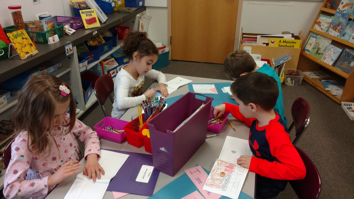 kindergarten writers working on their pattern books