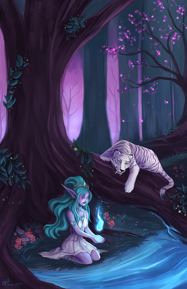 &quot;May Elune light your path.&quot; | Tyrande #FanArtFriday by @Tsepish<br>http://pic.twitter.com/mInsotJ9rj