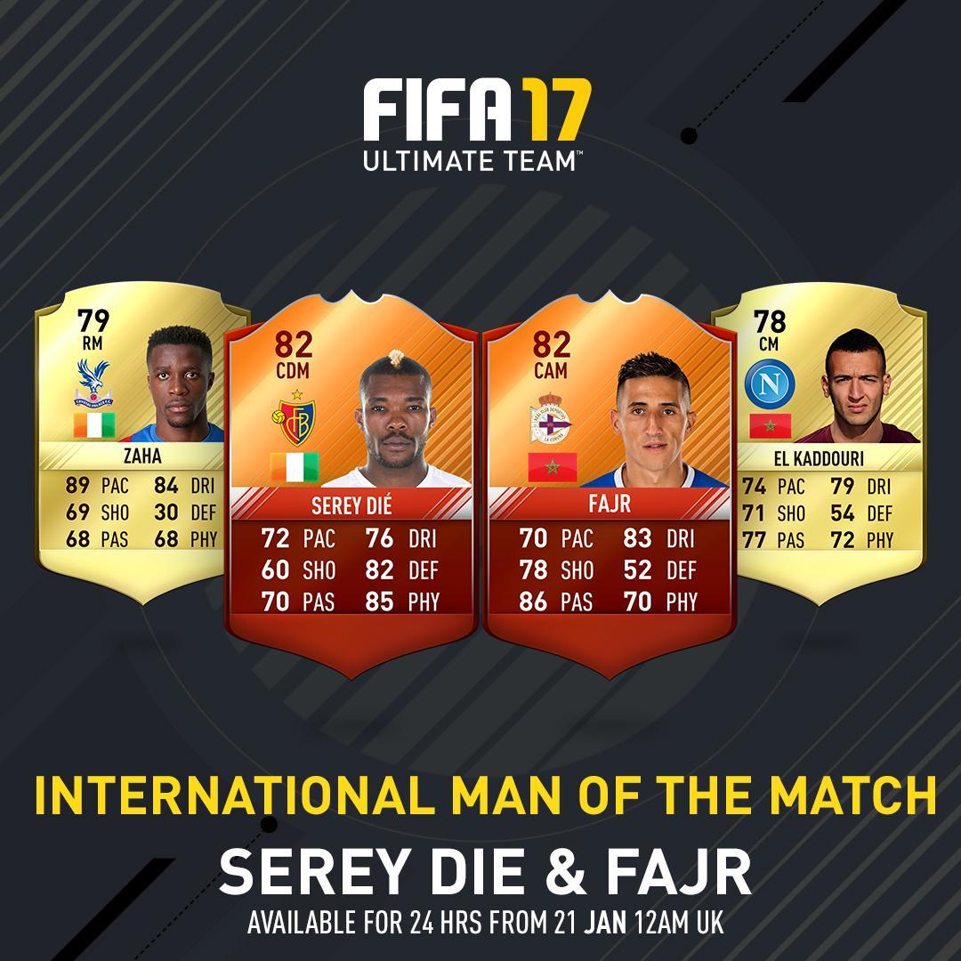 FIFA 17 International Man of the Match Cards List