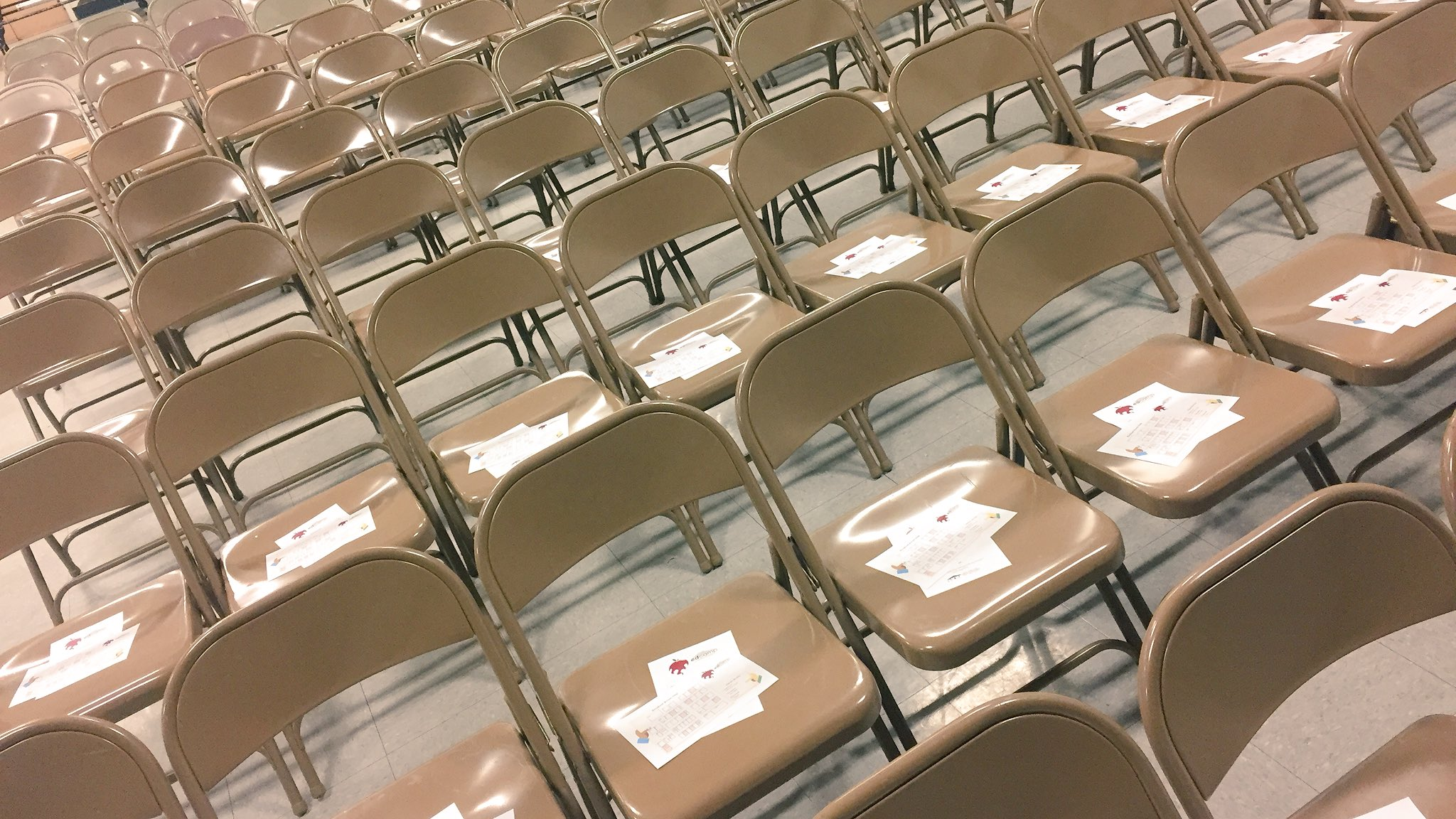Chairs Are set! Name tags are out! Coffee is coming! Doors open at 730 am tomorrow! Can't wait for #edcampcoco https://t.co/lLzFNAMsXz