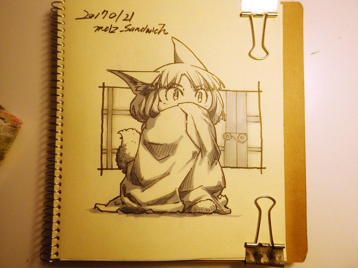 """meiz on twitter: """"【水彩】豆初代。早起きするも暖かい部屋から一歩も出"""