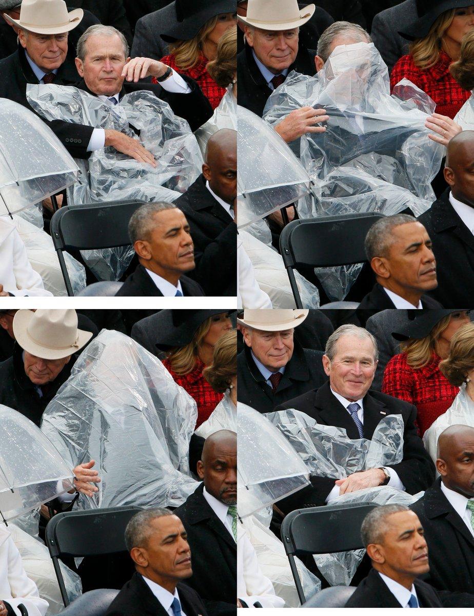 トランプ「アメリカ第一主義!!USAUSAUSA」 オバマ「はぁ・・・」 ブッシュ「カッパを頭から被…