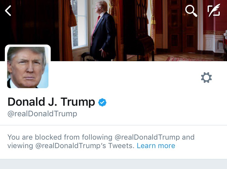 im literally blocked on twitter by the president of the united states of america i really fucking love 2017