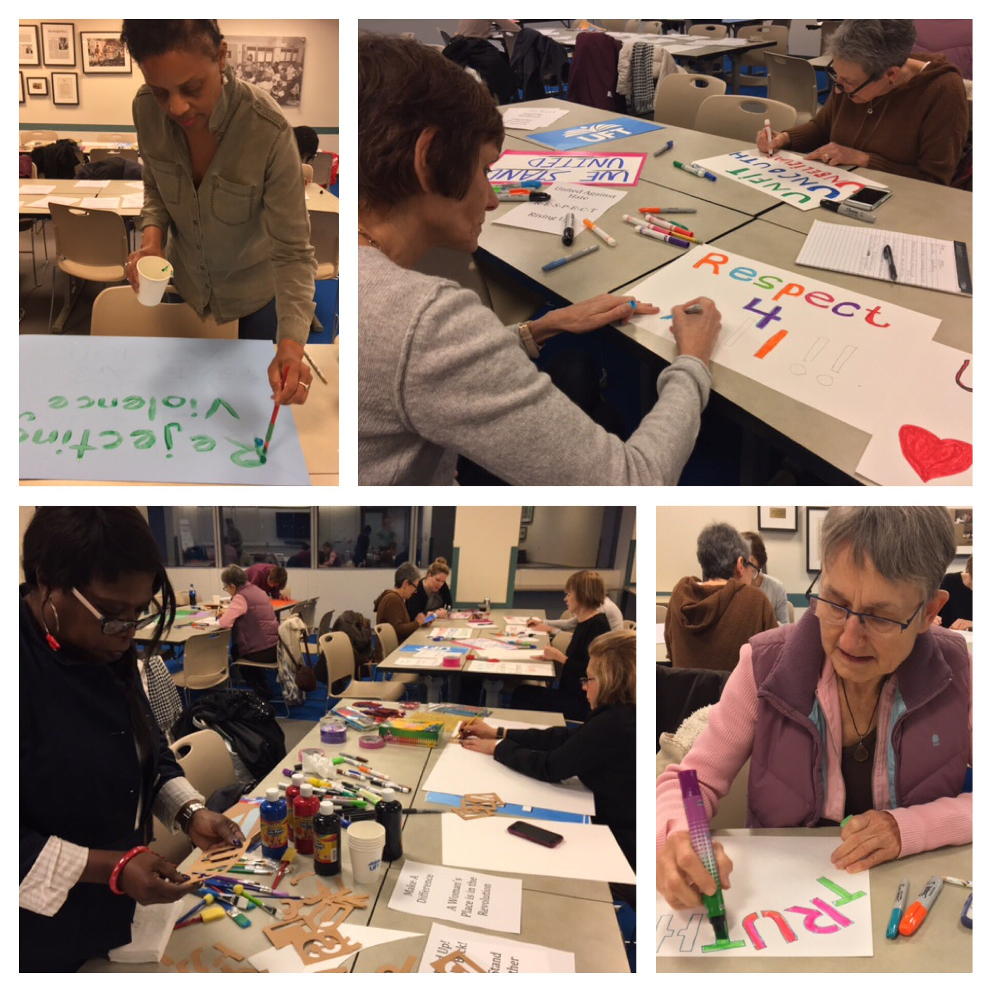 .@UFT members making signs for the @womensmarch & @WomensMarchNYC. #UnionProud #PublicSchoolProud @nysut @AFTunion https://t.co/xY8FgUClCI