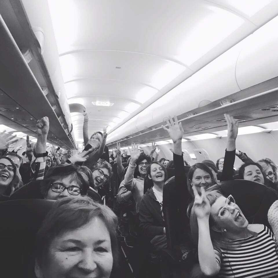 Plane full of #nastywomen enroute from MI to DC!! Go girls!! #WomensMarchOnWashington https://t.co/zeCPsYKzjQ