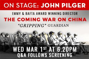 """A special Q&amp;A screening of The Coming War On China with director John Pilger. """"Gripping"""" - The Guardian #QandA #doco #event #mustsee<br>http://pic.twitter.com/pX5gtih8tG"""