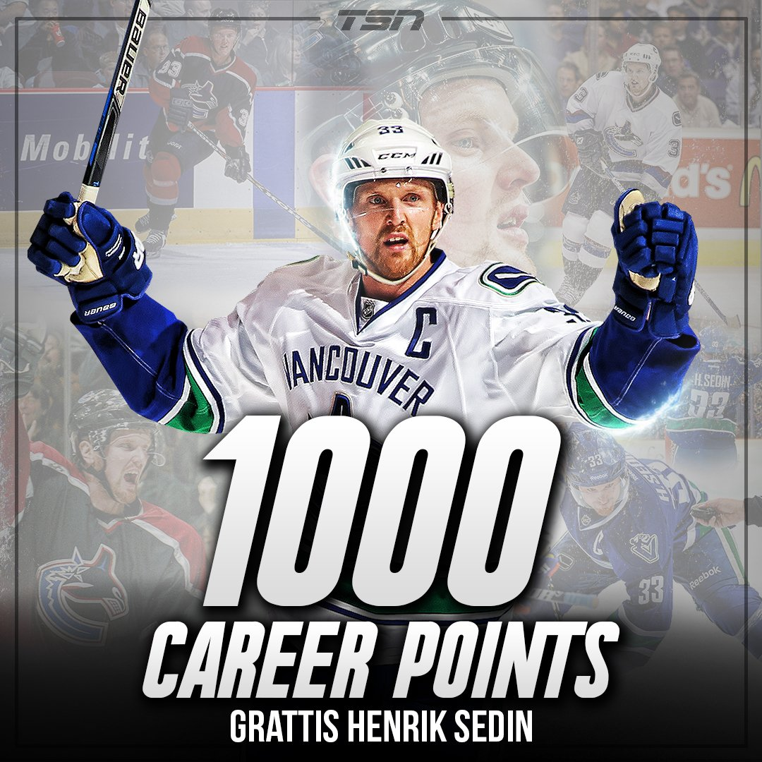 Henrik Sedin scores to earn his 1,000th career NHL point! https://t.co...