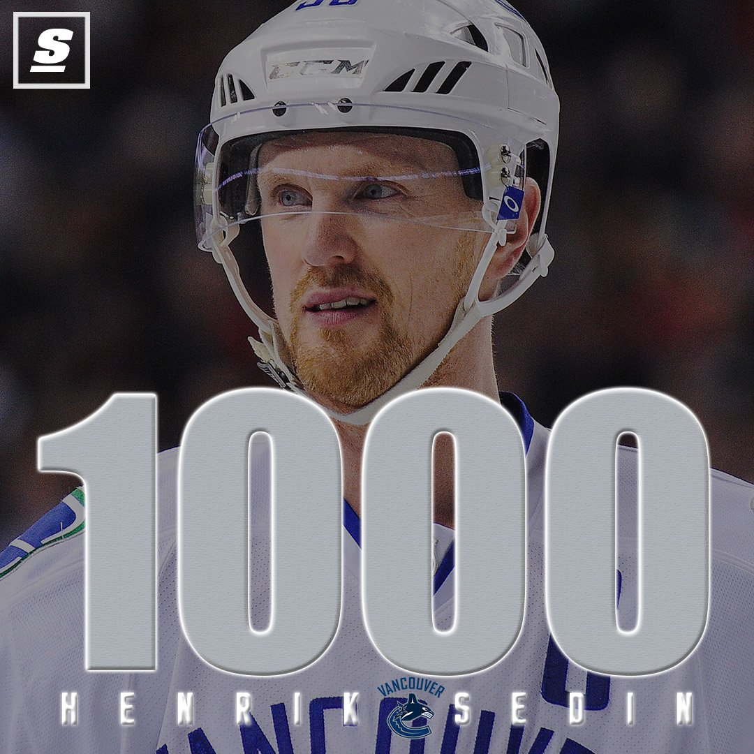 Congrats to Henrik Sedin with his 1000th point! 🙌 https://t.co/tRI4paG...