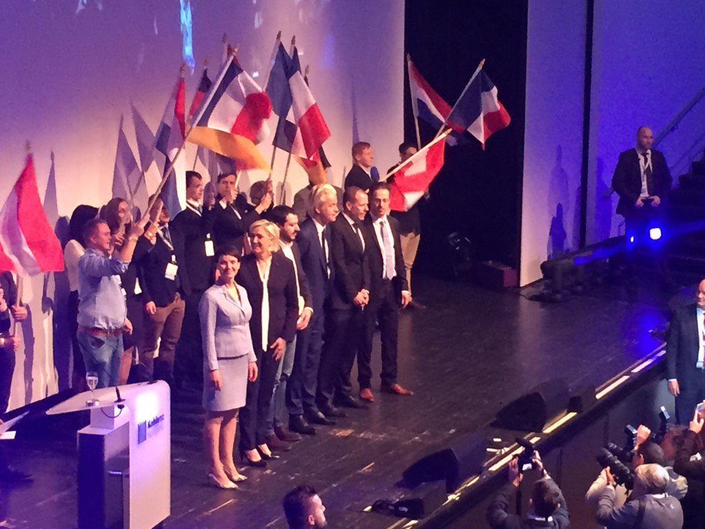 Gang's all here: Petry, Le Pen, Wilders, Salvini, Pretzell. And the cr...