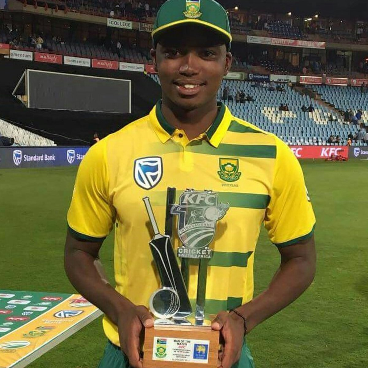 A star is born!  NgidiLungi who earbed Man of the Match on debut to help Proteas seal a 19 run win