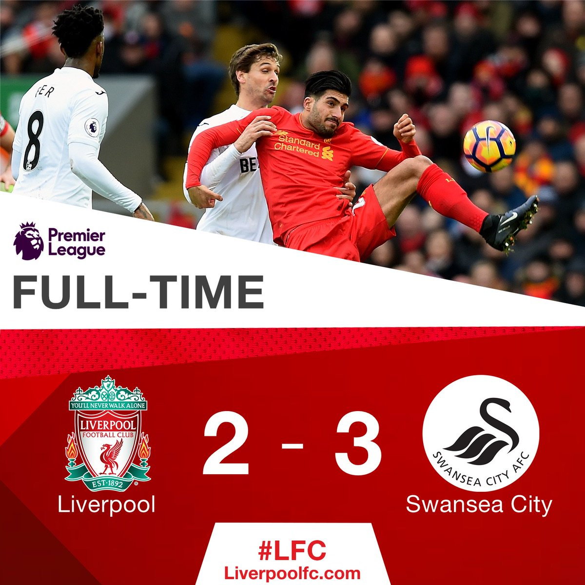 A frustrating afternoon at Anfield.  #LIVSWA https://t.co/d5SEvTn3pH