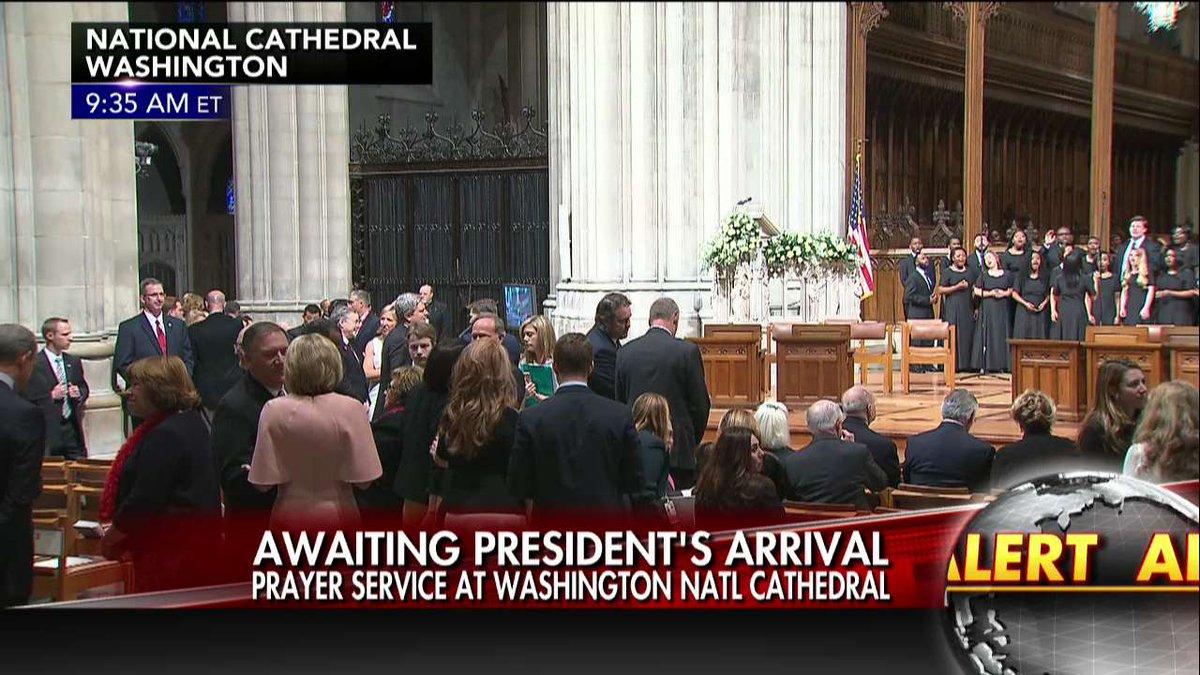 Happening Now: Awaiting @POTUS's arrival at prayer service at Washingt...