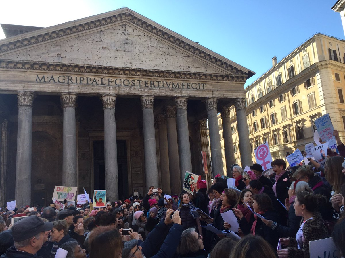Anti-Trump demonstrators in Rome