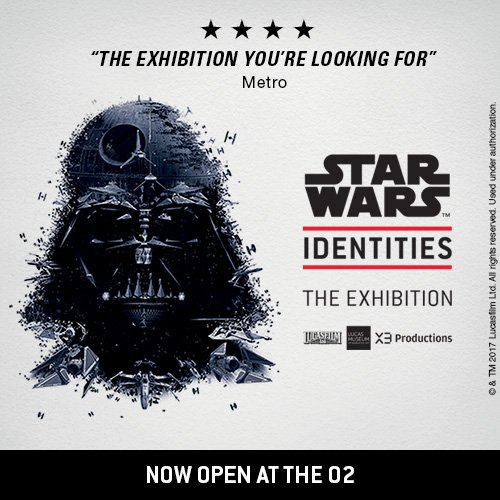 Star Wars Identities: The Exhibition at The O2 is now open! What forces shape you? #StarWarsUK #StarWarsIdentities  https:// goo.gl/yZSVkT    pic.twitter.com/xlt9yeQckj