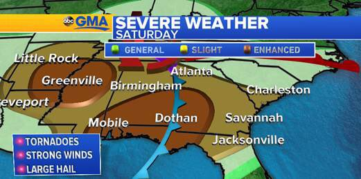 Severe weather threat today and tomorrow in the southeast. Please shar...