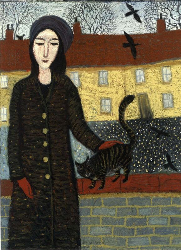 Cold looking painting by Dee Nickerson. The cat is enjoying a stroke f...