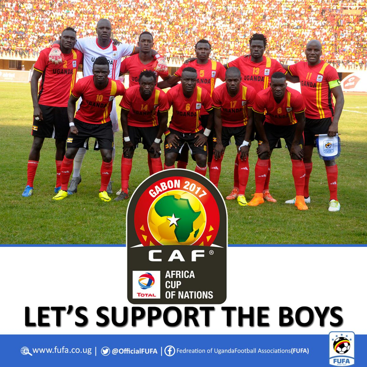 Good luck to the @UgandaCranes ... make us proud. 🇺🇬 #EGYUGA #CAN2017...