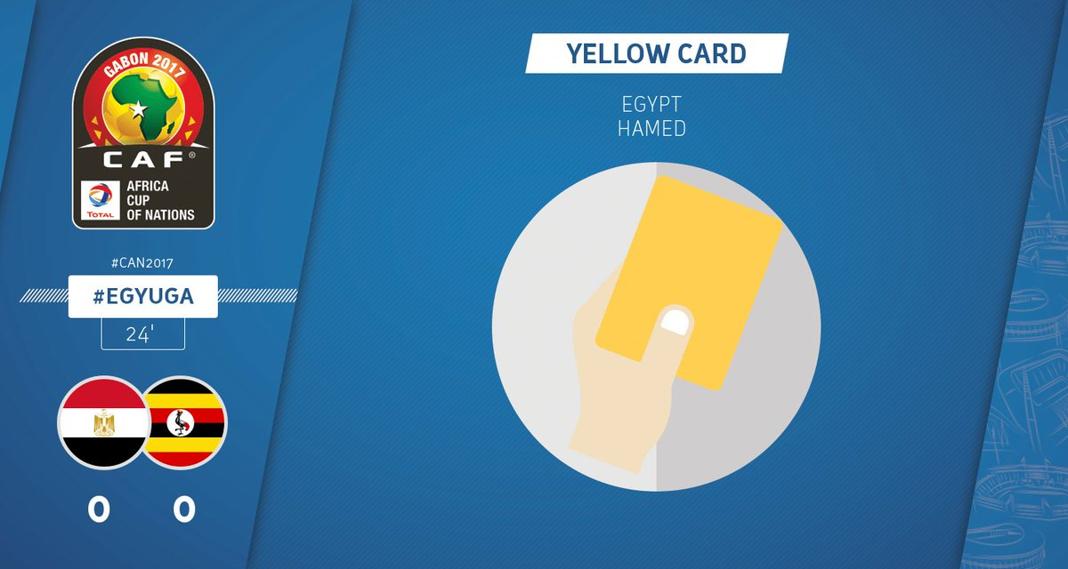 BOOKING | TAREK HAMED from Egypt receives a yellow card #CAN2017 #EGYU...
