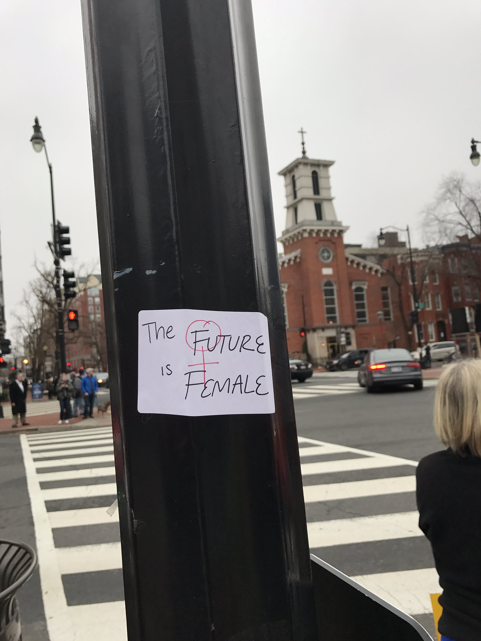 #WomensMarch My brilliant daughter is plastering messages across D.C. #TheFutureisFemale https://t.co/WEo3kNxqR5