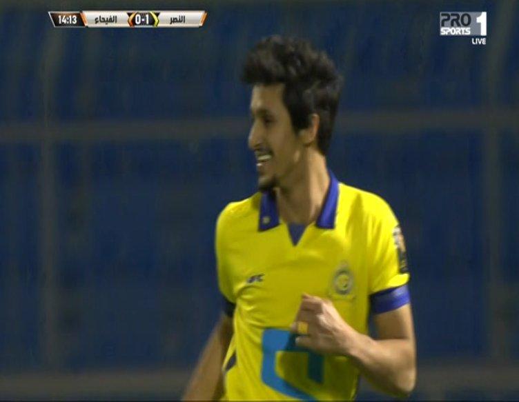 الغامدي يفتتح التسجيل لصالح فريقه النصر عند الدقيقة 14 لتصبح النتيجة 1...