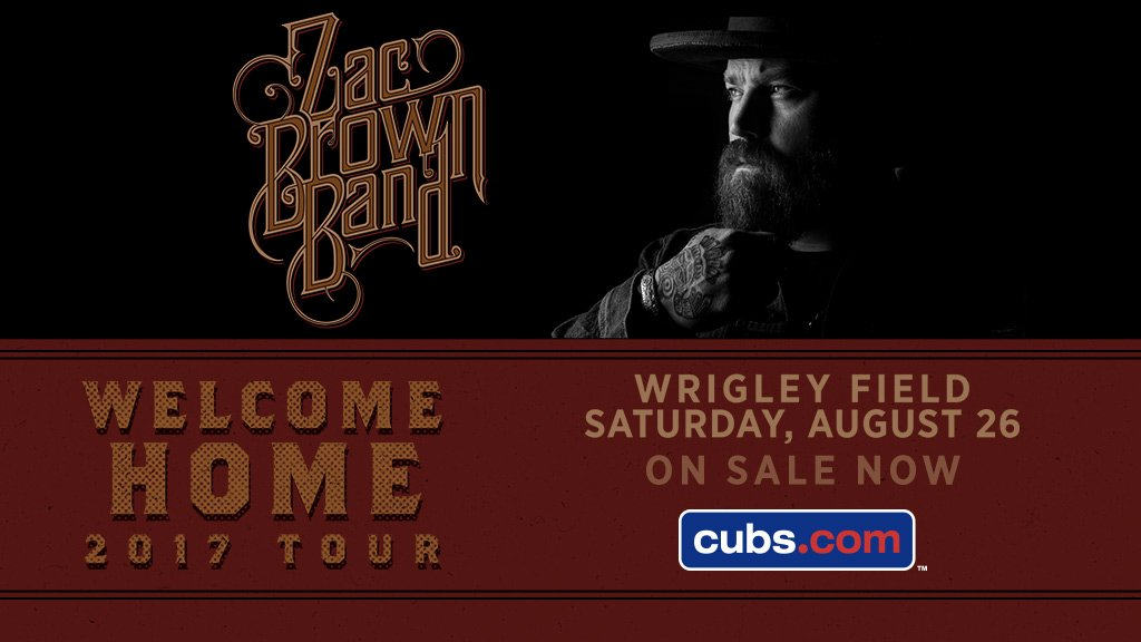 Welcome back @ZacBrownBand to #WrigleyField! Tickets on sale now: http...