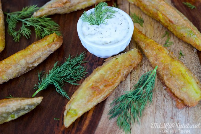 Beer Batter Deep Fried Pickles with Dill Dip