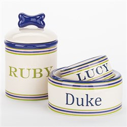 PREPPY STRIPE BOWLS & TREAT JARS! Visit:   #dogs #dogjars #puppy #dogsoftwitter @PoshPuppy