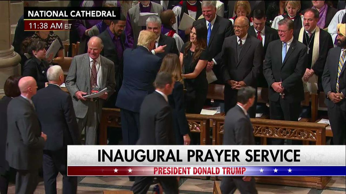.@POTUS greets people at the conclusion of the National Prayer Service...