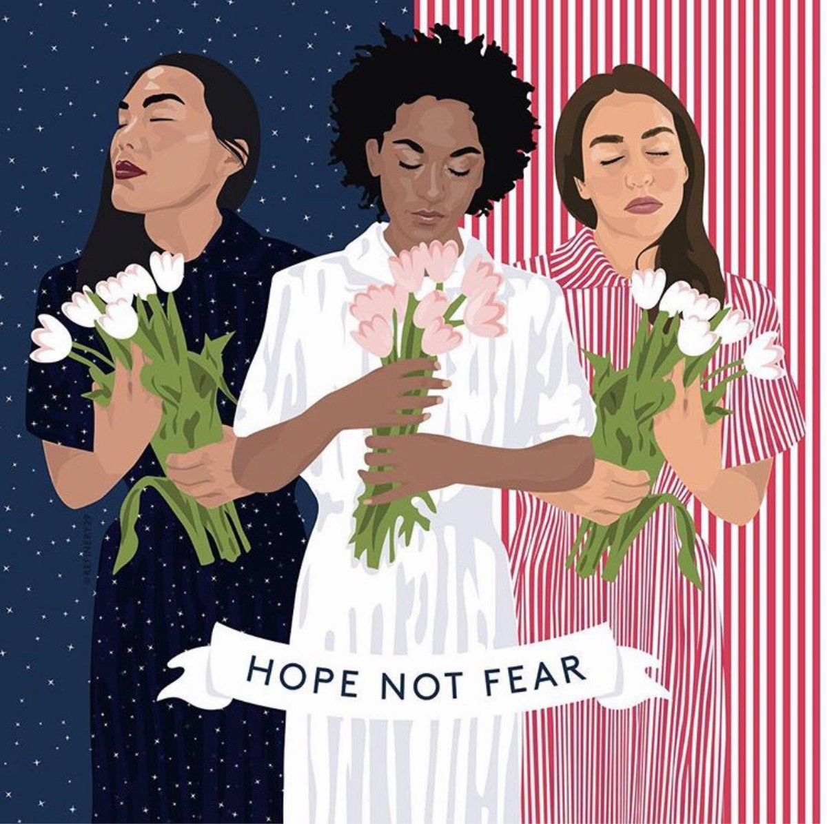 'Hope Not Fear' Indeed.  And what a beautiful piece by Louisa Cannell.  #womensmarch 👊👊🏻👊🏼👊🏽✨