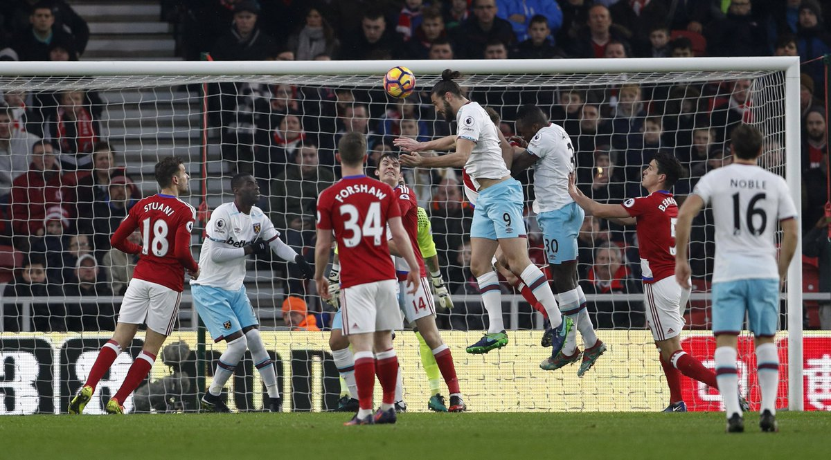 FULL-TIME Middlesbrough 1-3 West Ham. Andy Carroll's double inspires t...