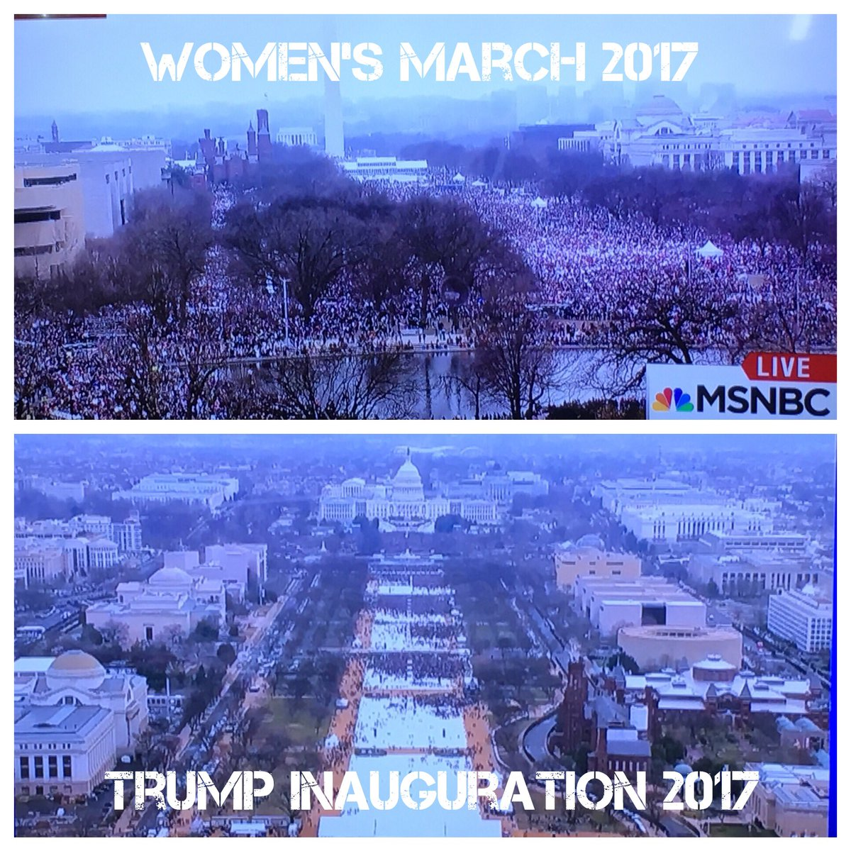 #MSNBC just announced the #WomensMarch is the largest presidential protest march in history. #WomensRightsAreHumanRights<br>http://pic.twitter.com/8MOD4j1Qvy
