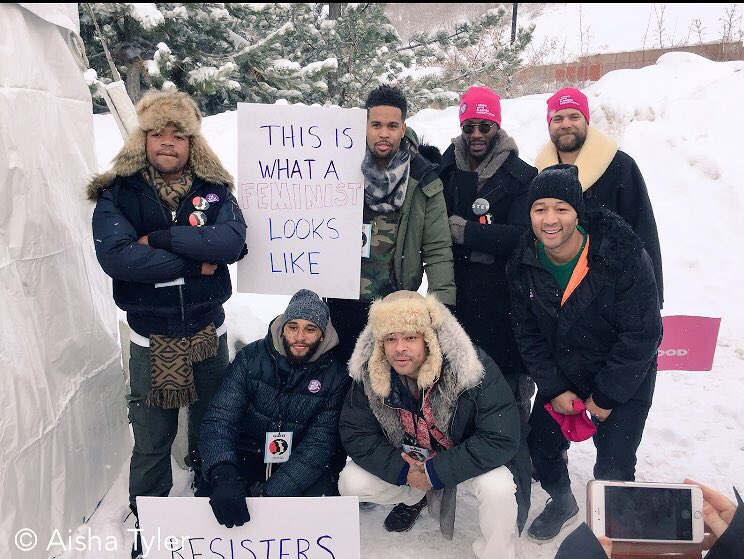 Incredible men representing today st the Women's March on Main in Park...