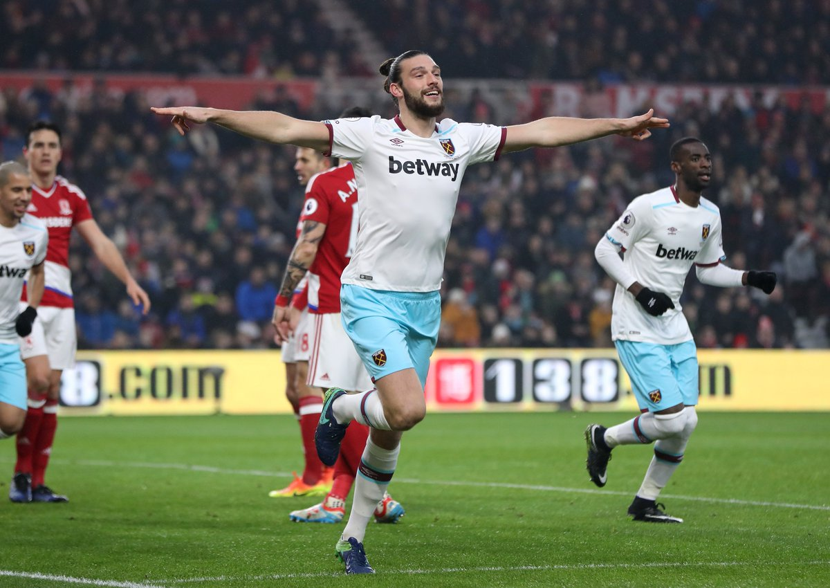 Andy Carroll 👌  The striker has done it again for West Ham.  Report: h...