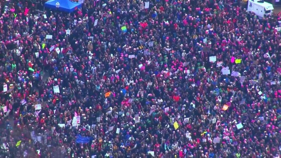 Picture from Sky5 show the thousands gathered in the Boston Common for the #WomensMarch https://t.co/TSWdpdmkEH