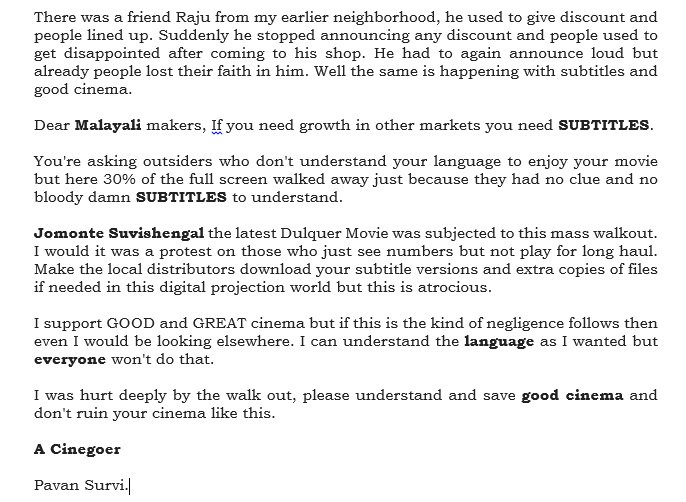 After watching #JomonteSuvishengal .. I felt an urge to say these few words to Malayali Makers.. https://t.co/etMYiC0a3H