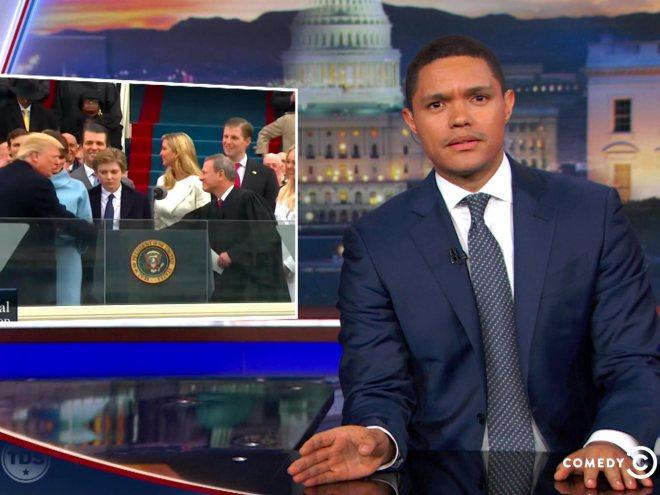 Trevor Noah likens Trump's #inauguration to #TempleOfDoom and #Termina...
