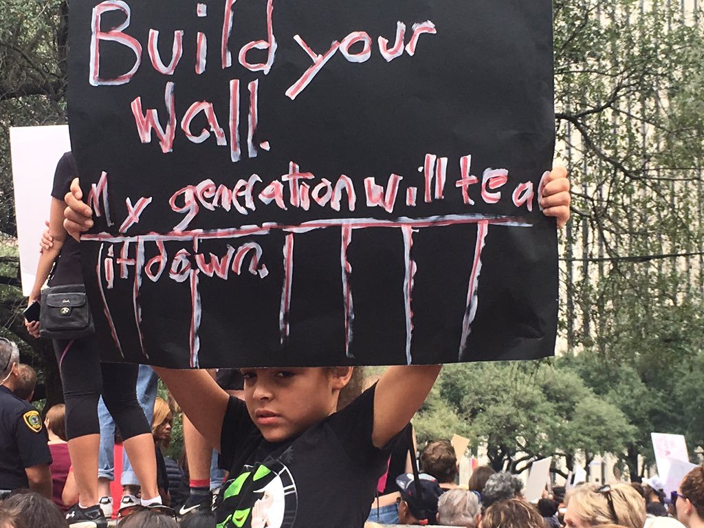 """Build your wall. My generation will tear it down."" #WomensMarch #Houston https://t.co/eWCQj00pcO"