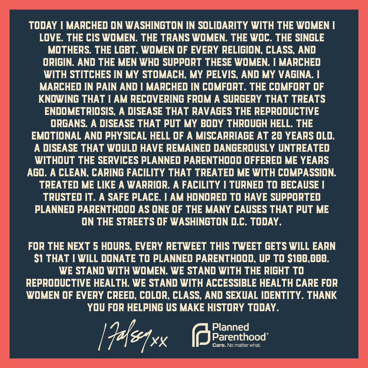 in the next 5 hours each RT = $1 donation by me to @PPact. Please read & share on why PP is important for all women. @CecileRichards