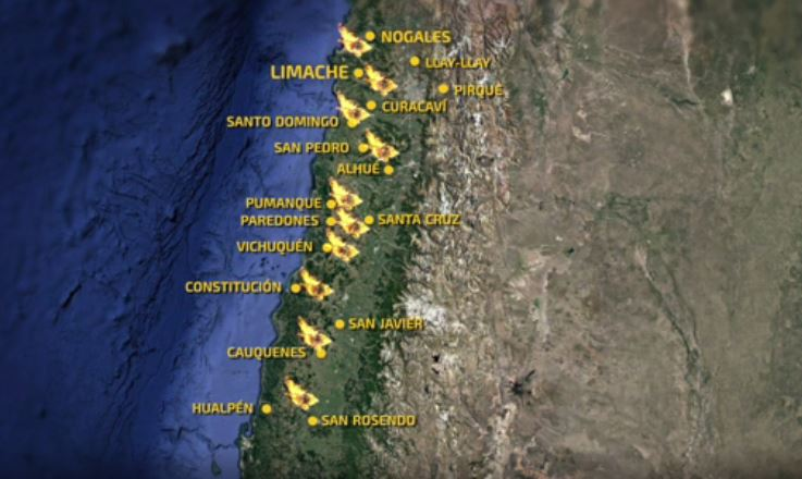Cobertura especial: Mapa revela todas las zonas afectadas por los ince...