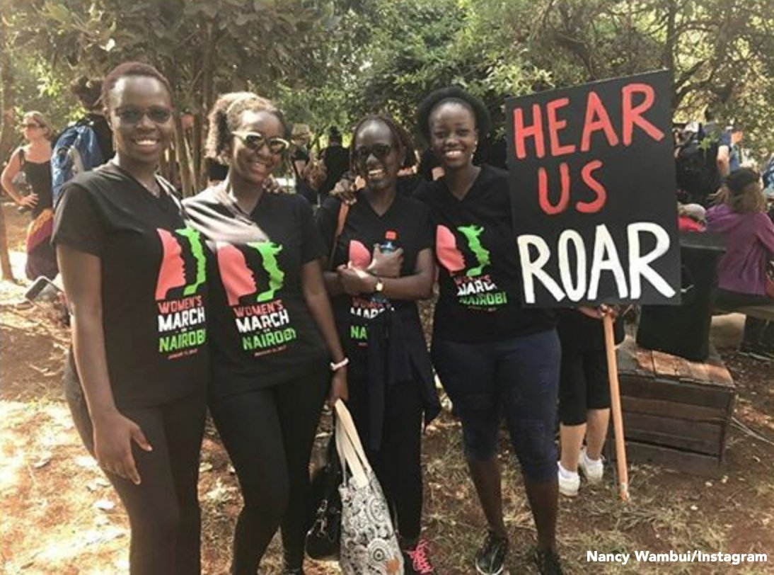 'Hear us roar.' Women's Marches as far as Nairobi are taking place wor...