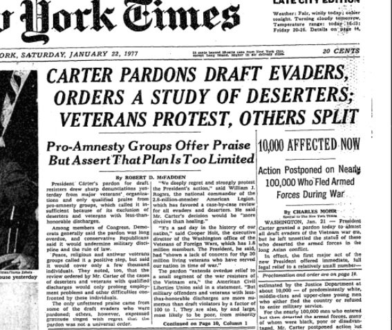 Image result for draft dodgers pardoned 1977
